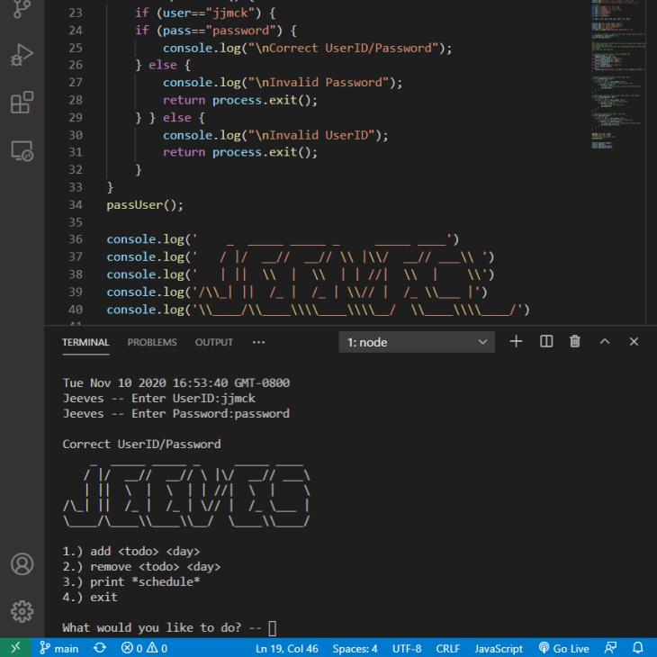 Program Screenshot with Terminal and Code